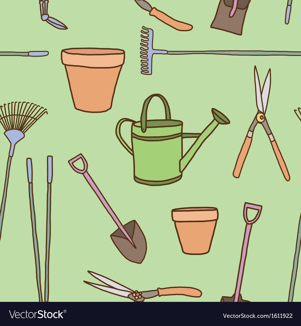 Seamless of garden tools vector   Price: 1 Credit (USD $1)