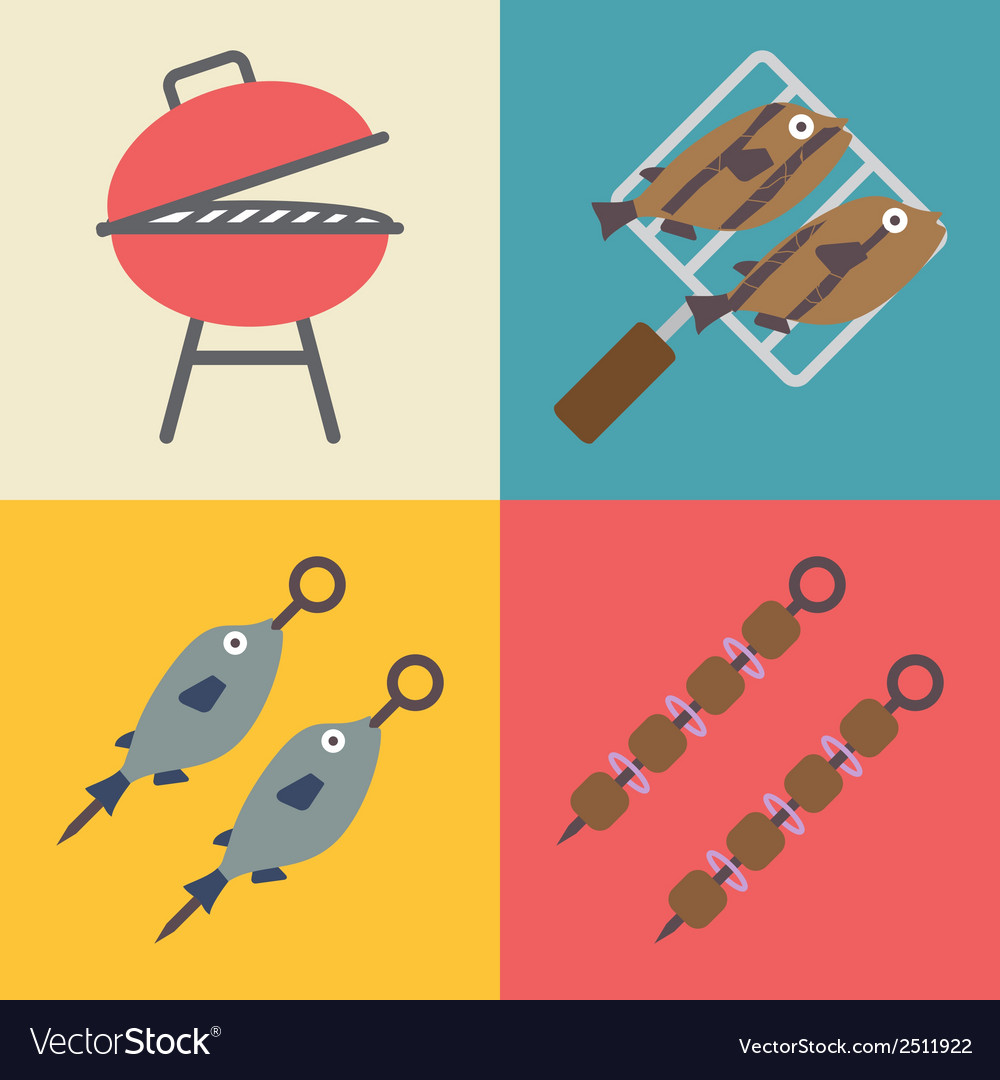 Set of grill icons for outdoor and cooking icons vector | Price: 1 Credit (USD $1)