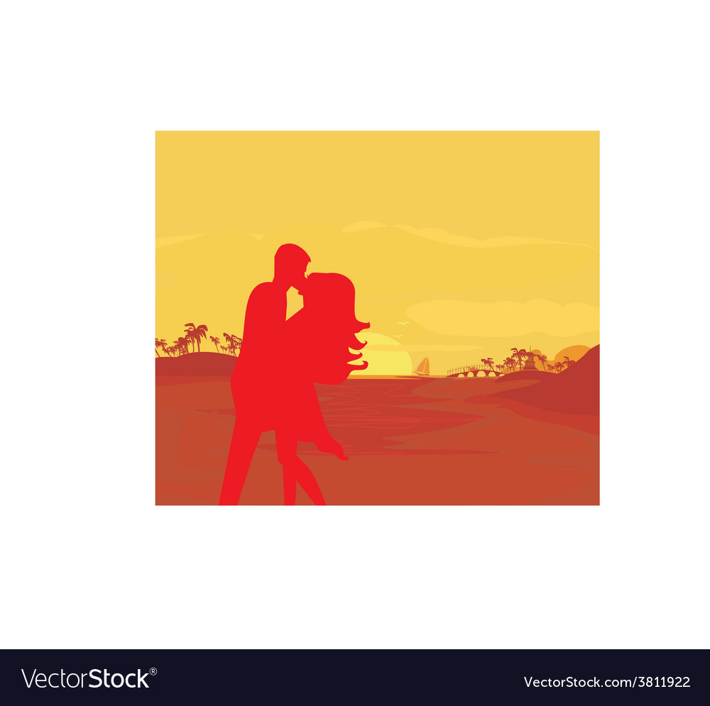 Silhouette couple kissing on tropical beach vector | Price: 1 Credit (USD $1)