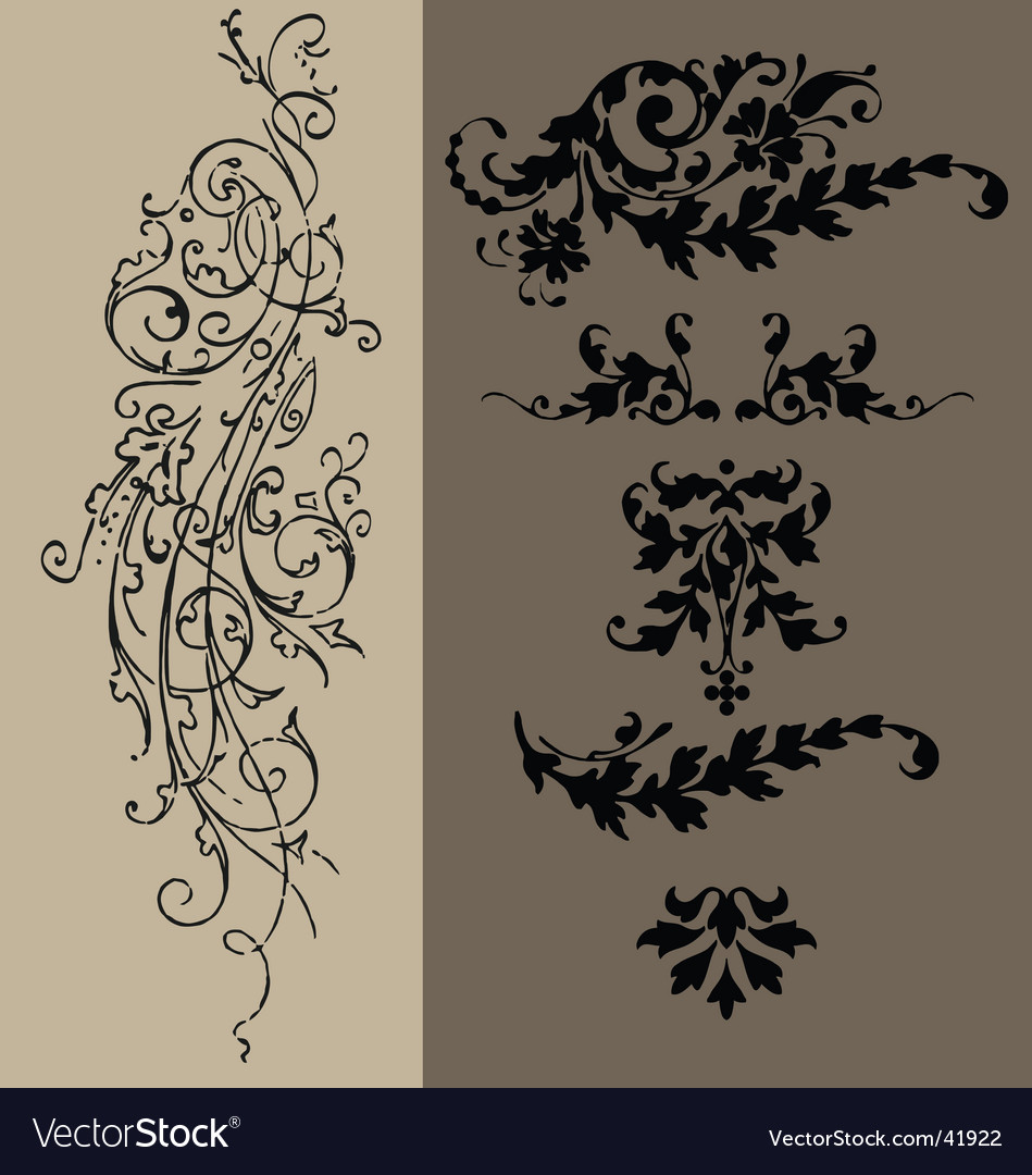 Vintage floral elements vector | Price: 1 Credit (USD $1)