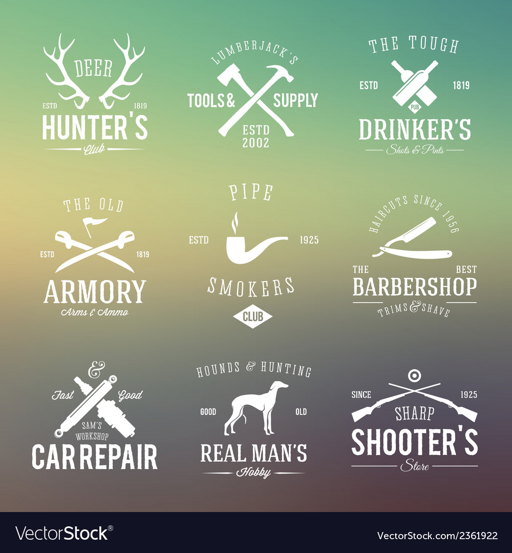 Vintage labels with retro typography for mens vector | Price: 1 Credit (USD $1)