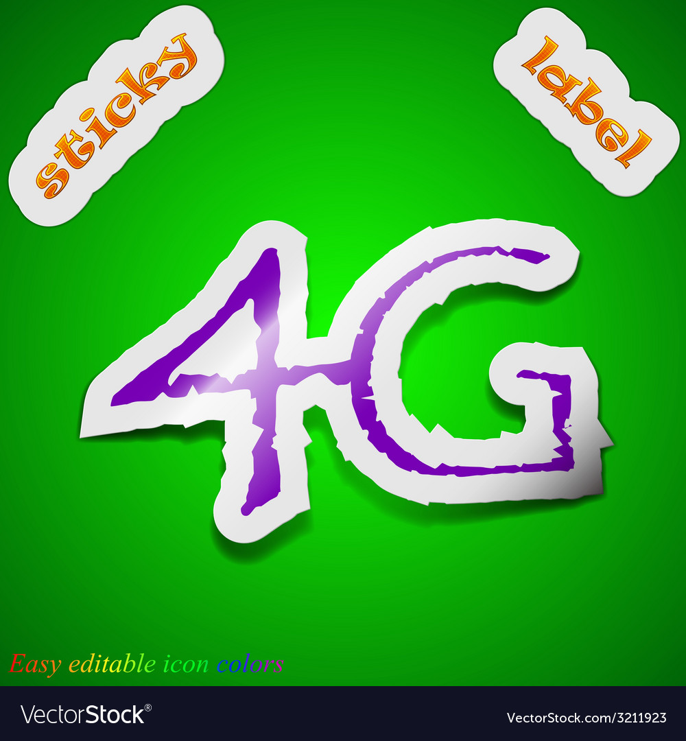 4g technology icon sign symbol chic colored sticky vector | Price: 1 Credit (USD $1)