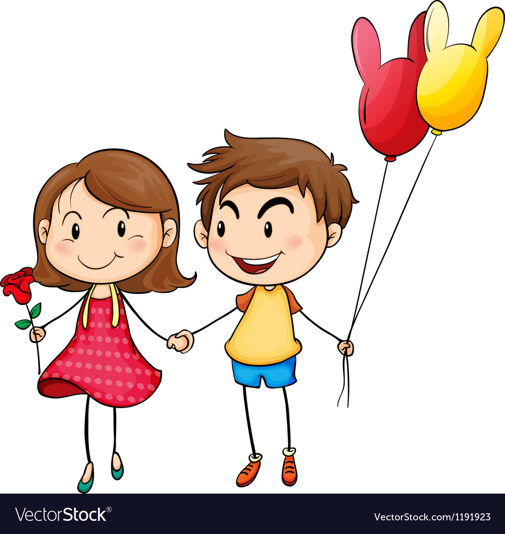A girl with a flower and a boy with balloons vector | Price: 1 Credit (USD $1)