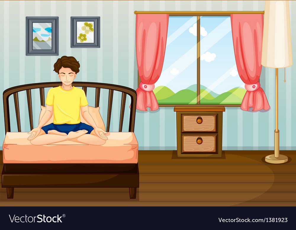 A man performing yoga inside his room vector | Price: 1 Credit (USD $1)