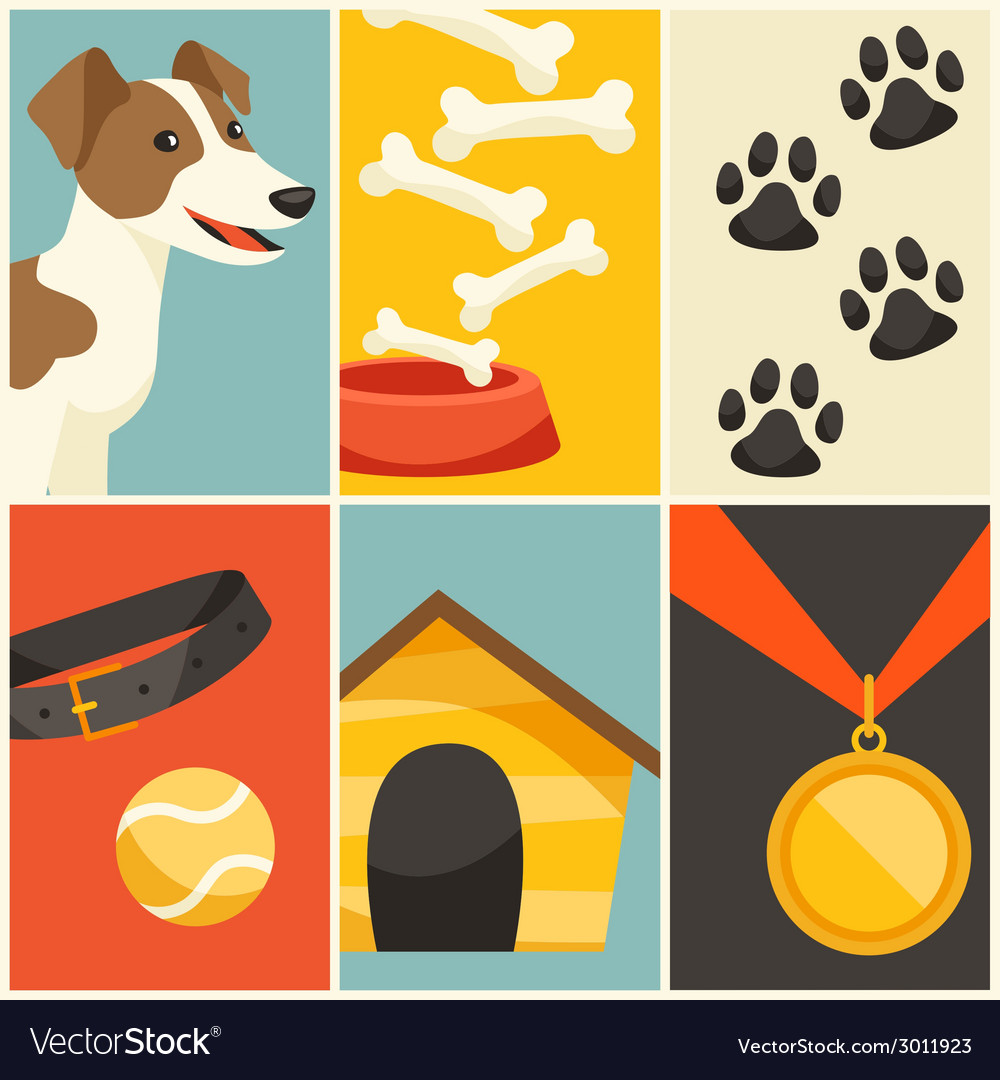 Background with cute dog icons and objects vector | Price: 1 Credit (USD $1)