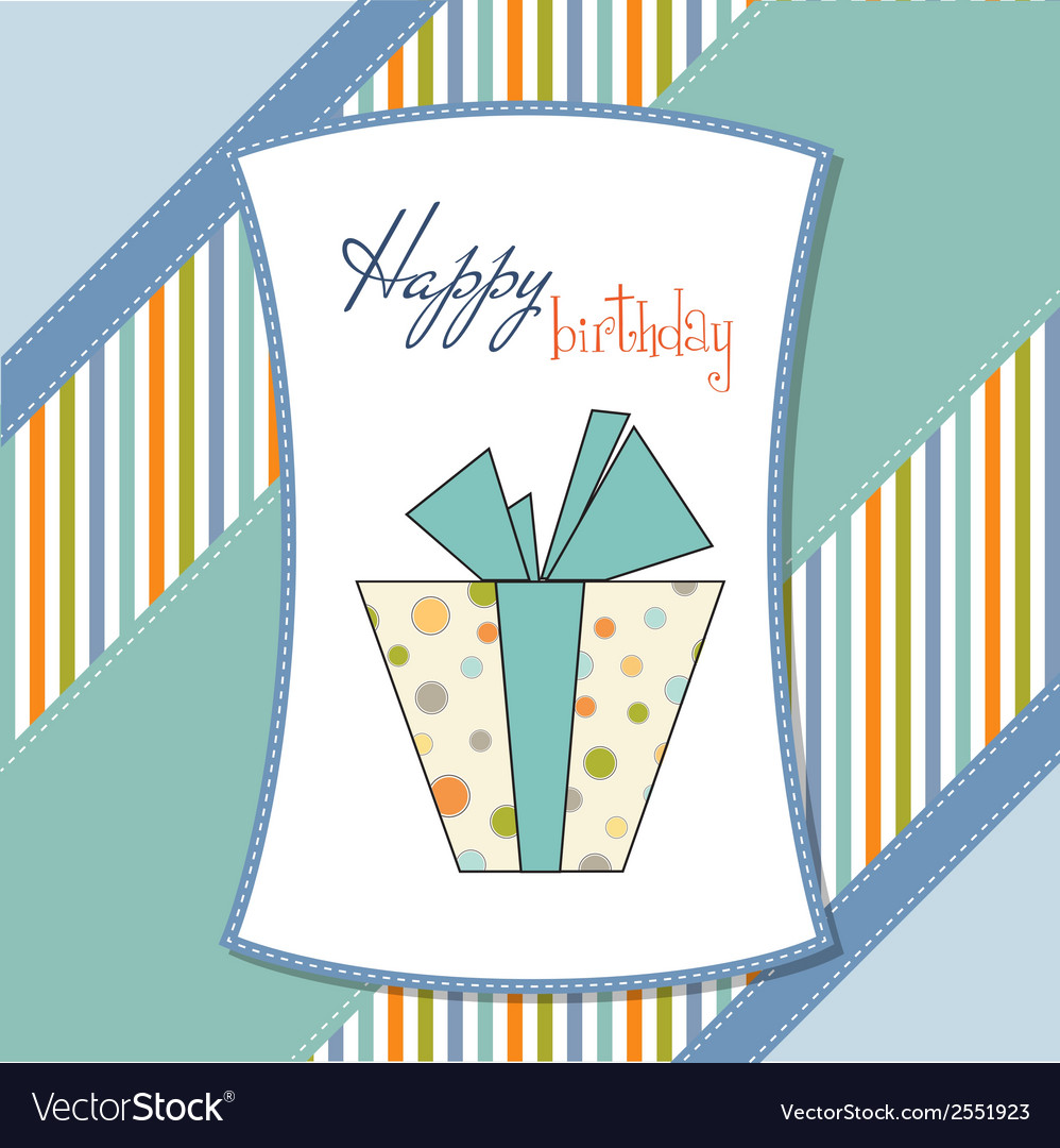Birthday card with gift box vector | Price: 1 Credit (USD $1)