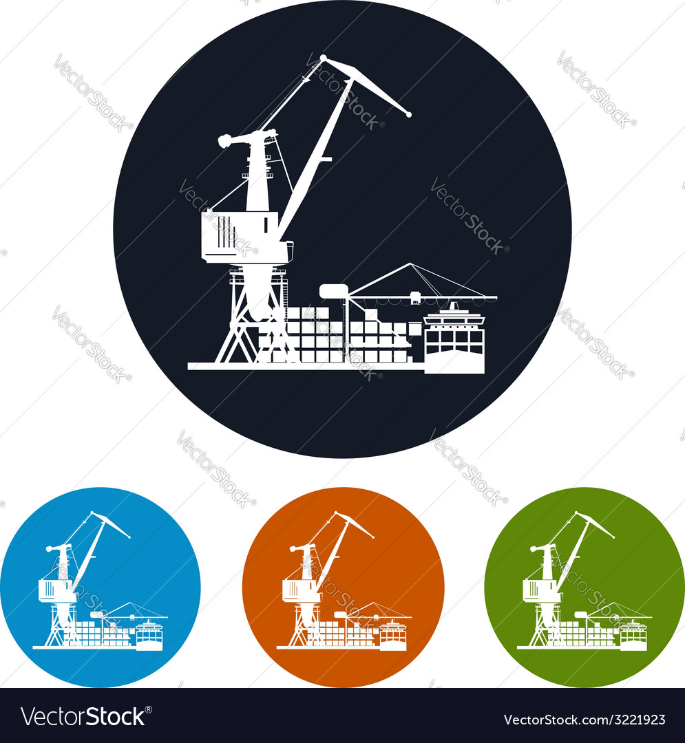 Cargo container ship with cargo crane vector | Price: 1 Credit (USD $1)