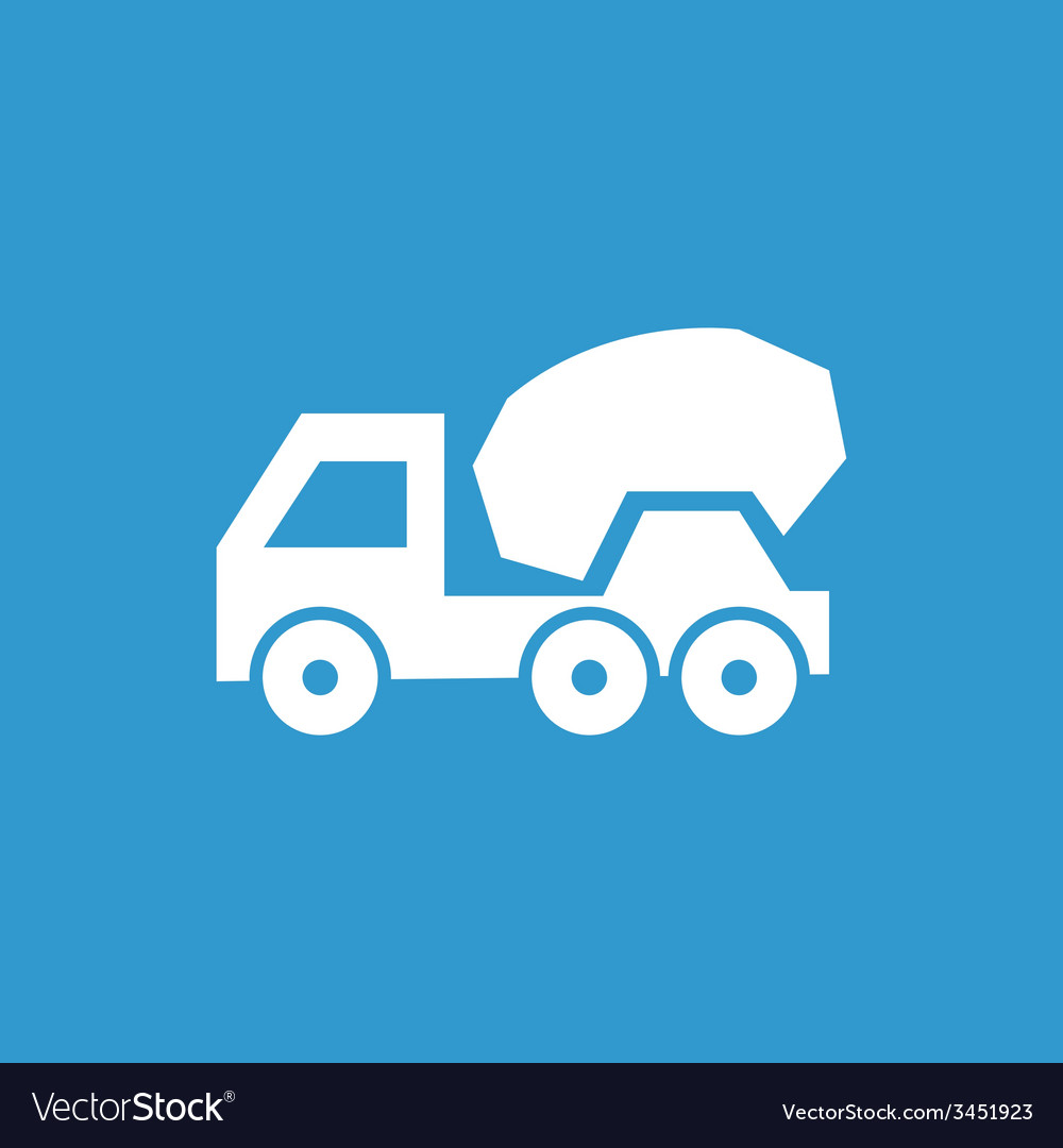 Concrete mixer icon white on the blue background vector | Price: 1 Credit (USD $1)