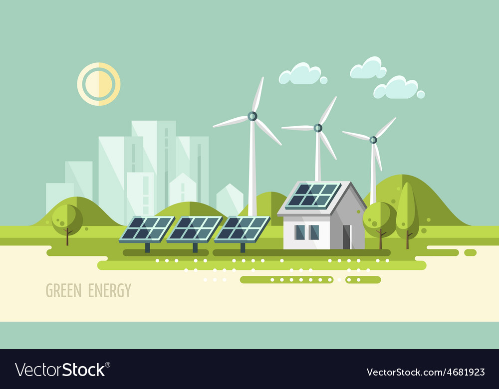Green energy urban landscape ecology vector