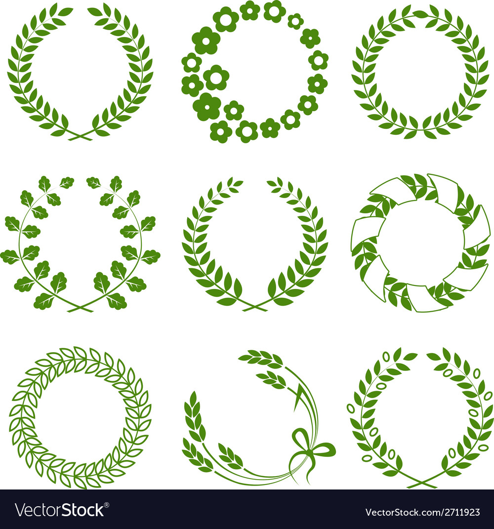 Green wreaths isolated on white background vector | Price: 1 Credit (USD $1)