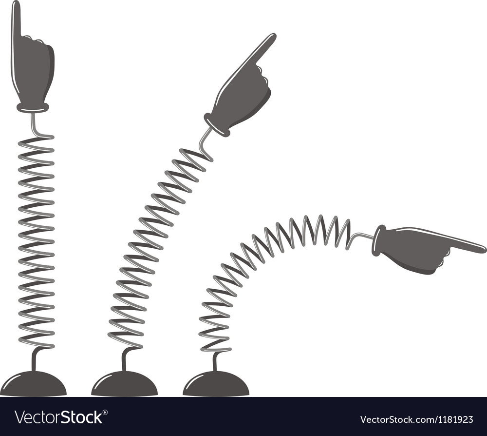 Hands with pointing finger on springs vector | Price: 1 Credit (USD $1)