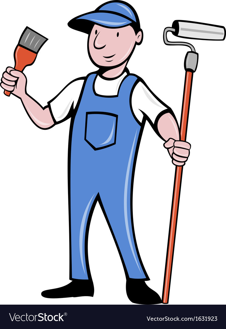House painter with paint roller and paintbrush vector | Price: 1 Credit (USD $1)