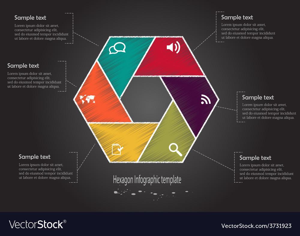 Infographic scribble hexagon vector | Price: 1 Credit (USD $1)