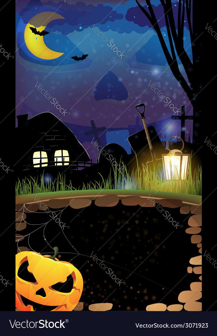 Night halloween background vector | Price: 3 Credit (USD $3)