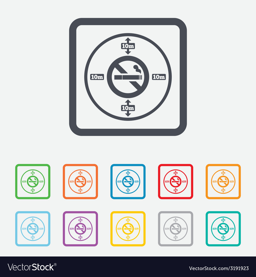 No smoking 10m distance sign icon stop smoking vector | Price: 1 Credit (USD $1)