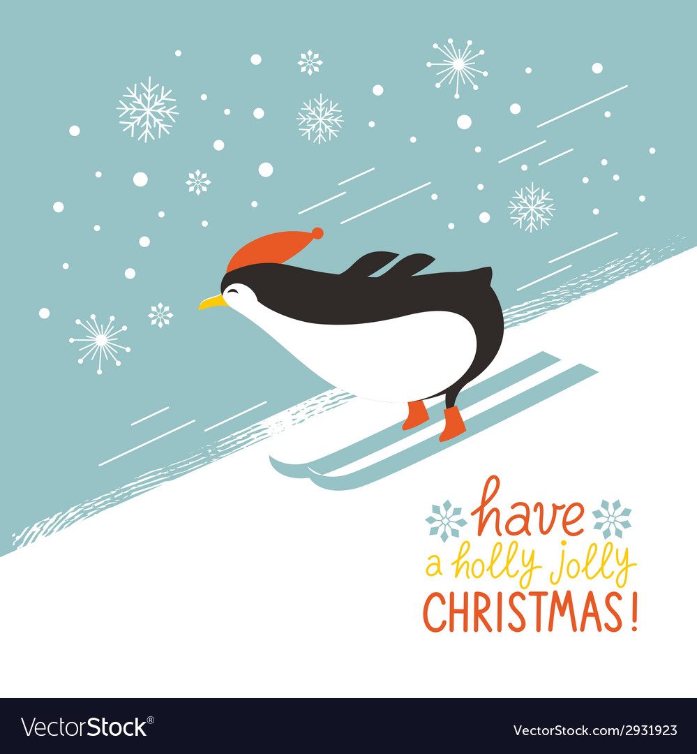 Penguin skiing down a mountain slope vector | Price: 1 Credit (USD $1)