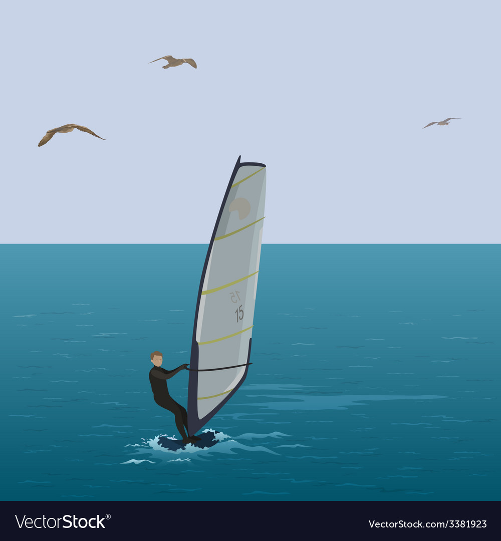 Sportsmen surfer sail in the blue sea vector | Price: 1 Credit (USD $1)