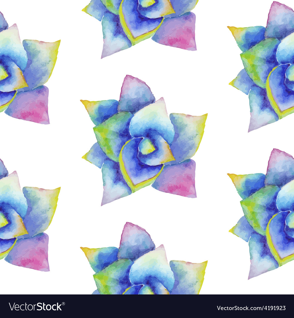 Watercolor seamless pattern with succulent vector | Price: 1 Credit (USD $1)