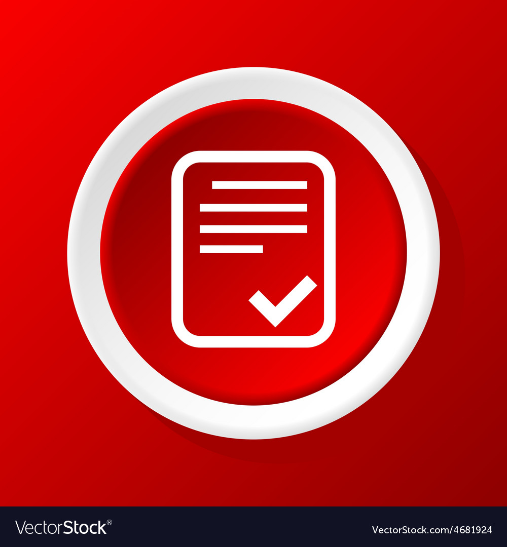 Accepted document icon on red vector | Price: 1 Credit (USD $1)