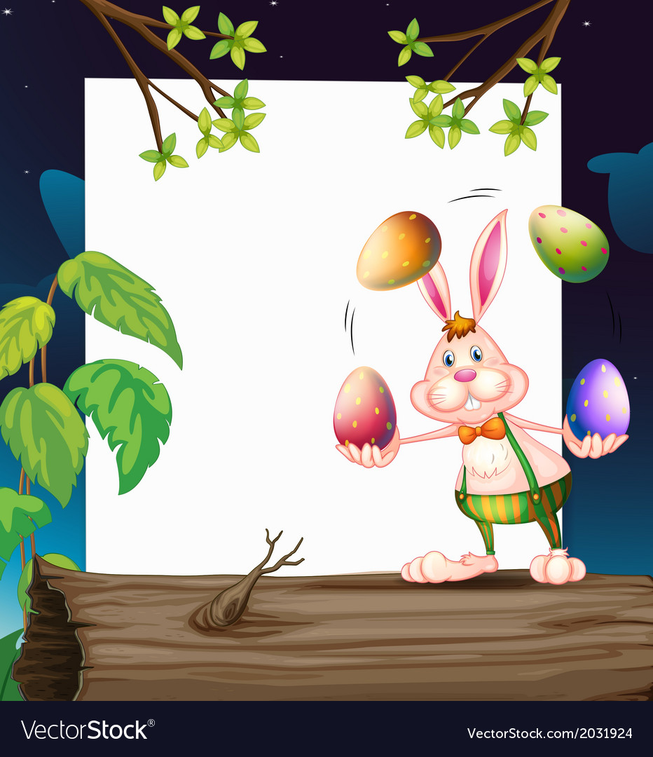An empty template with a bunny juggling the eggs vector | Price: 1 Credit (USD $1)