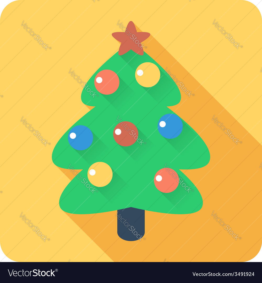 Christmas tree with balls icon flat design vector | Price: 1 Credit (USD $1)