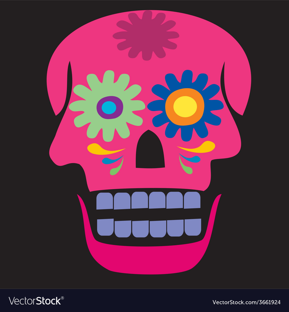 Colored pink skull vector | Price: 1 Credit (USD $1)