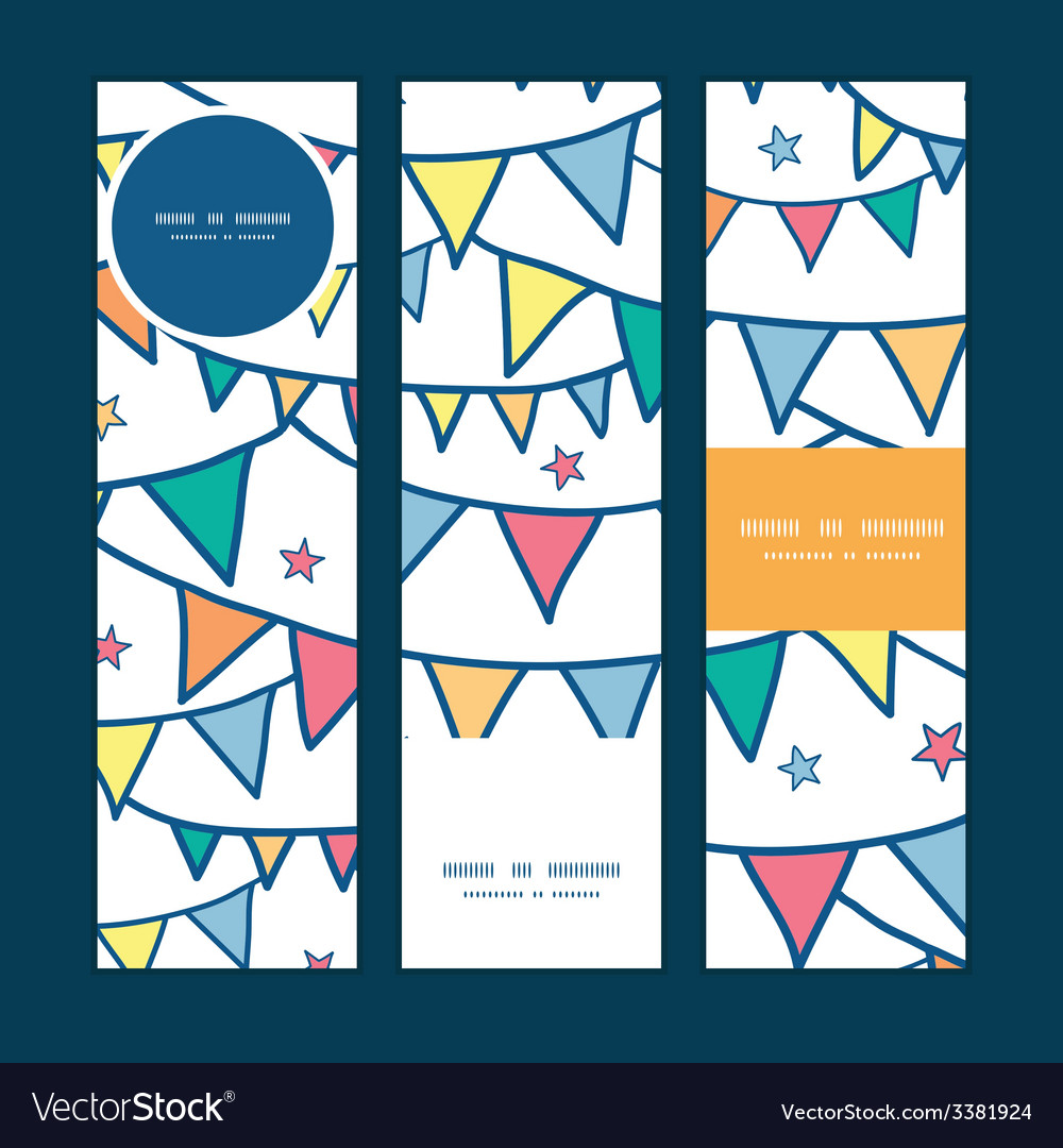 Colorful doodle bunting flags vertical banners set vector | Price: 1 Credit (USD $1)