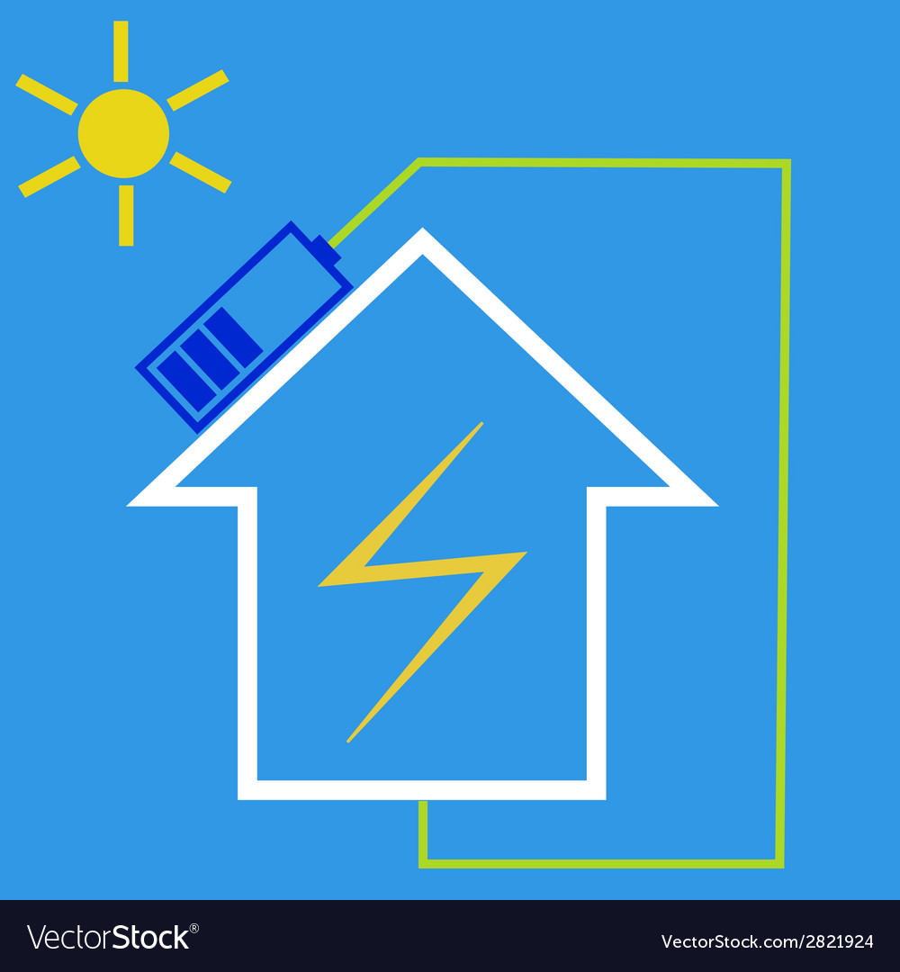 Eco house with solar battery vector | Price: 1 Credit (USD $1)