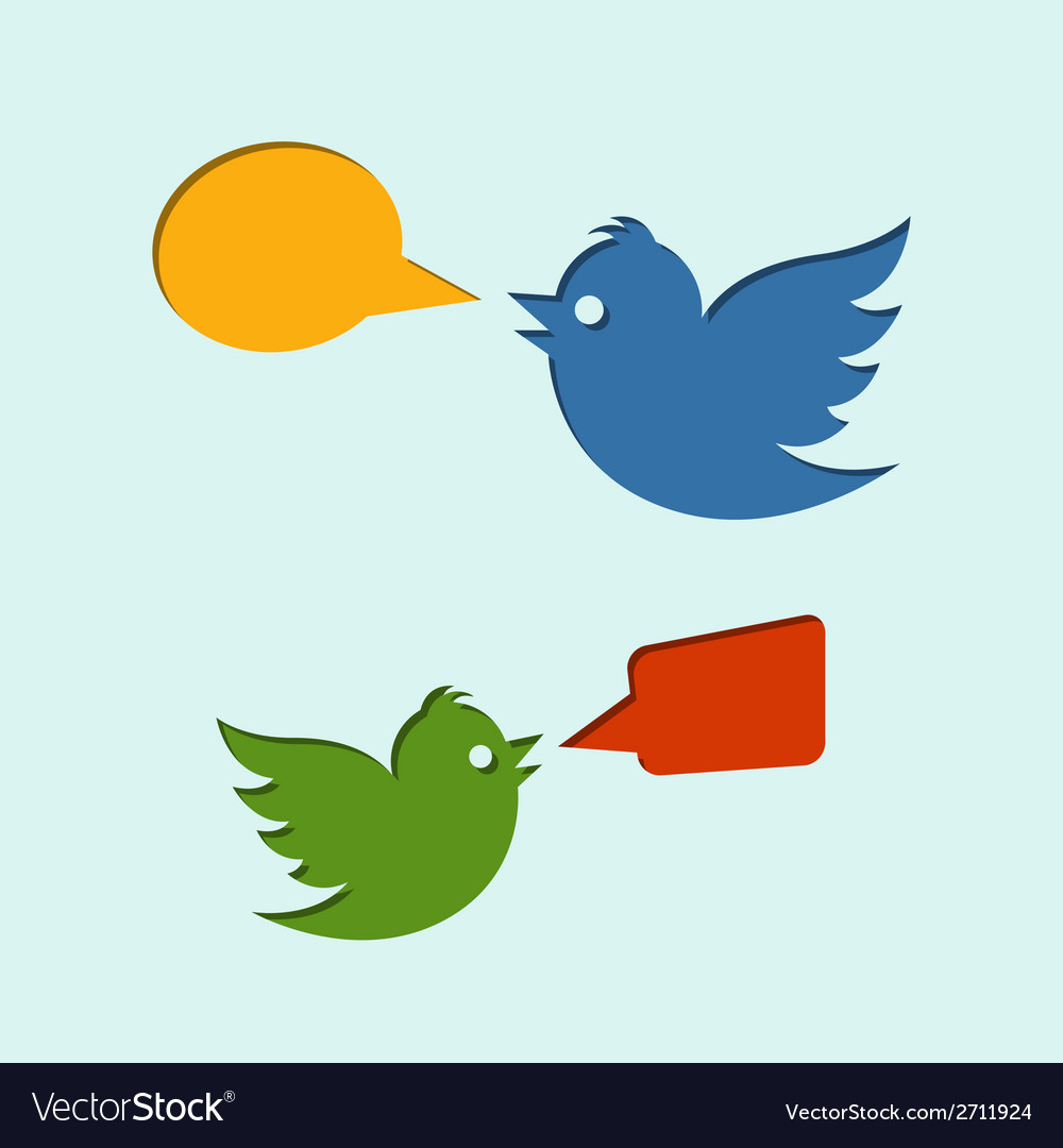 Flying birds with speech bubbles vector | Price: 1 Credit (USD $1)