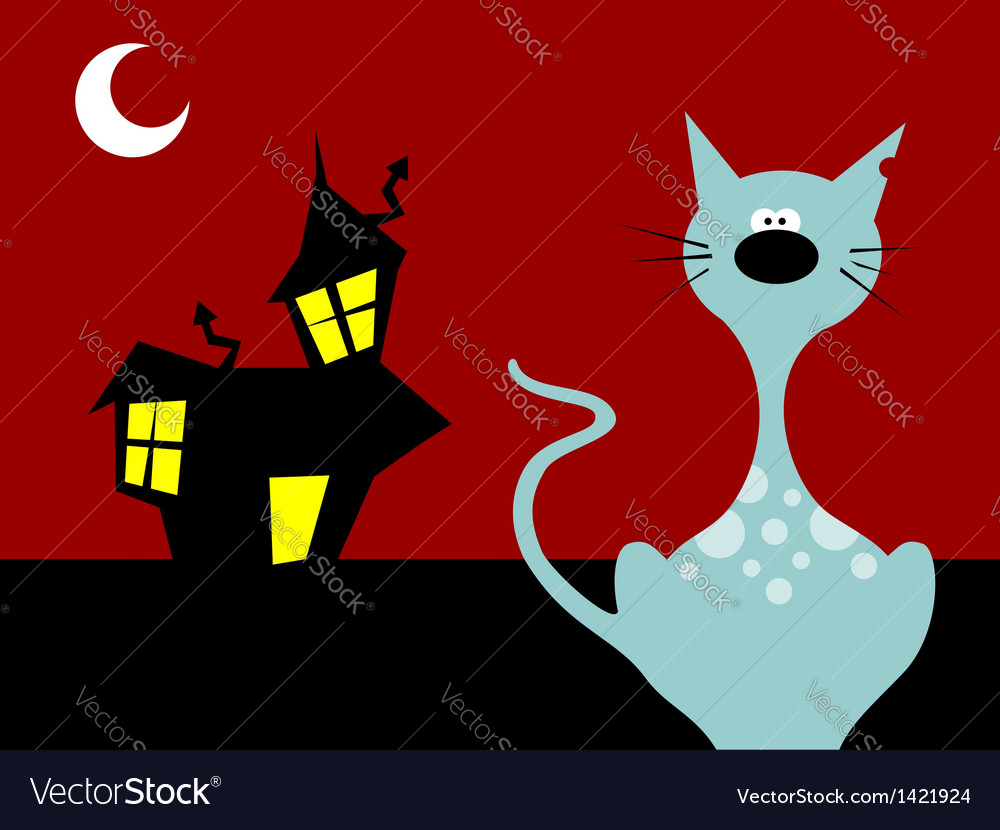 Halloween night cat vector | Price: 1 Credit (USD $1)