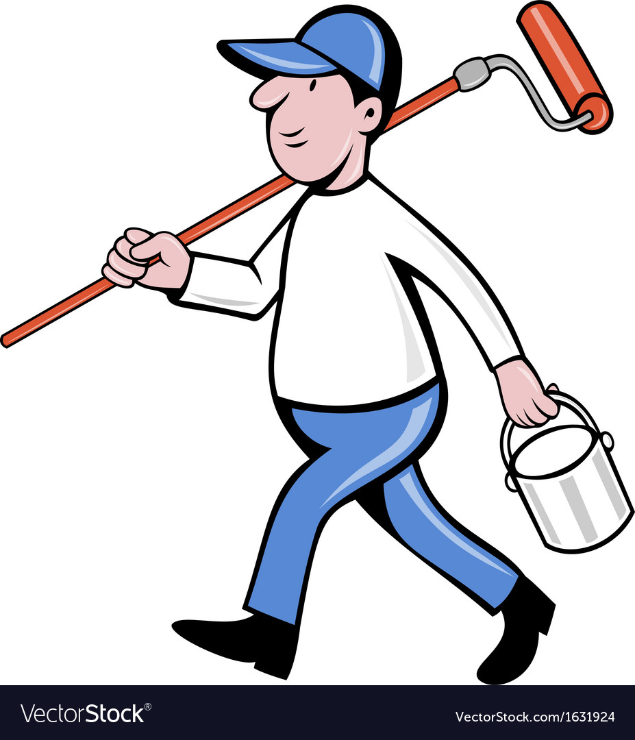 House painter with painting roller paint can vector | Price: 1 Credit (USD $1)