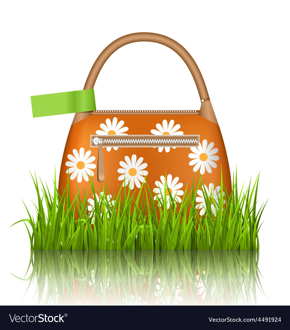 Orange woman spring bag with chamomiles flowers vector | Price: 3 Credit (USD $3)