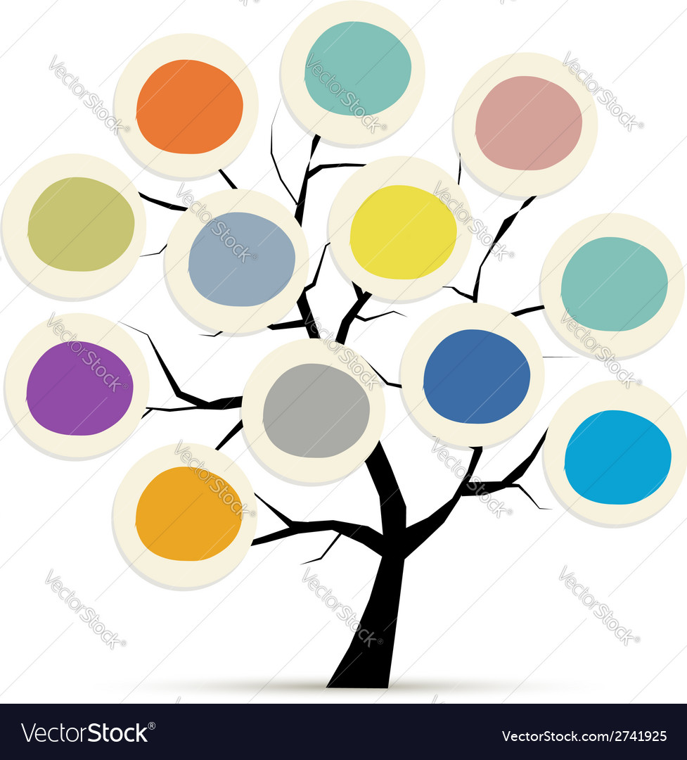 Abstract tree with circle frames for your design vector