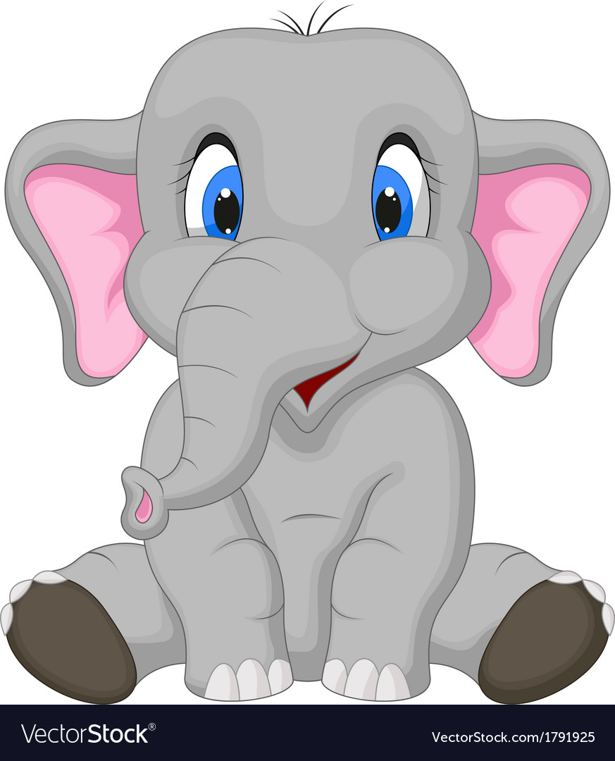 Cute elephant cartoon sitting vector | Price: 1 Credit (USD $1)
