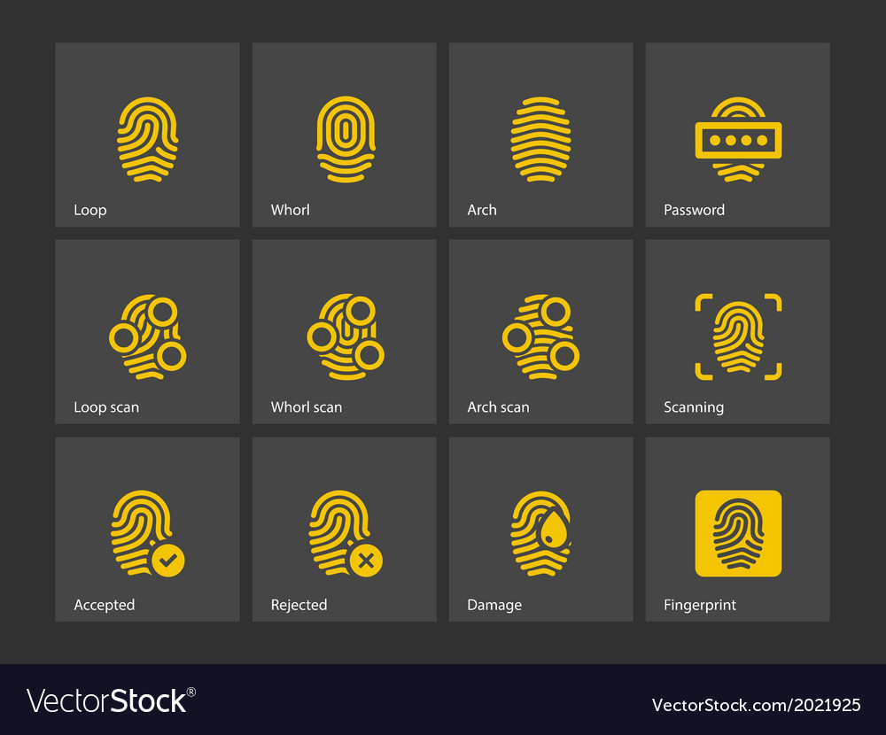 Fingerprint and thumbprint icons vector | Price: 1 Credit (USD $1)