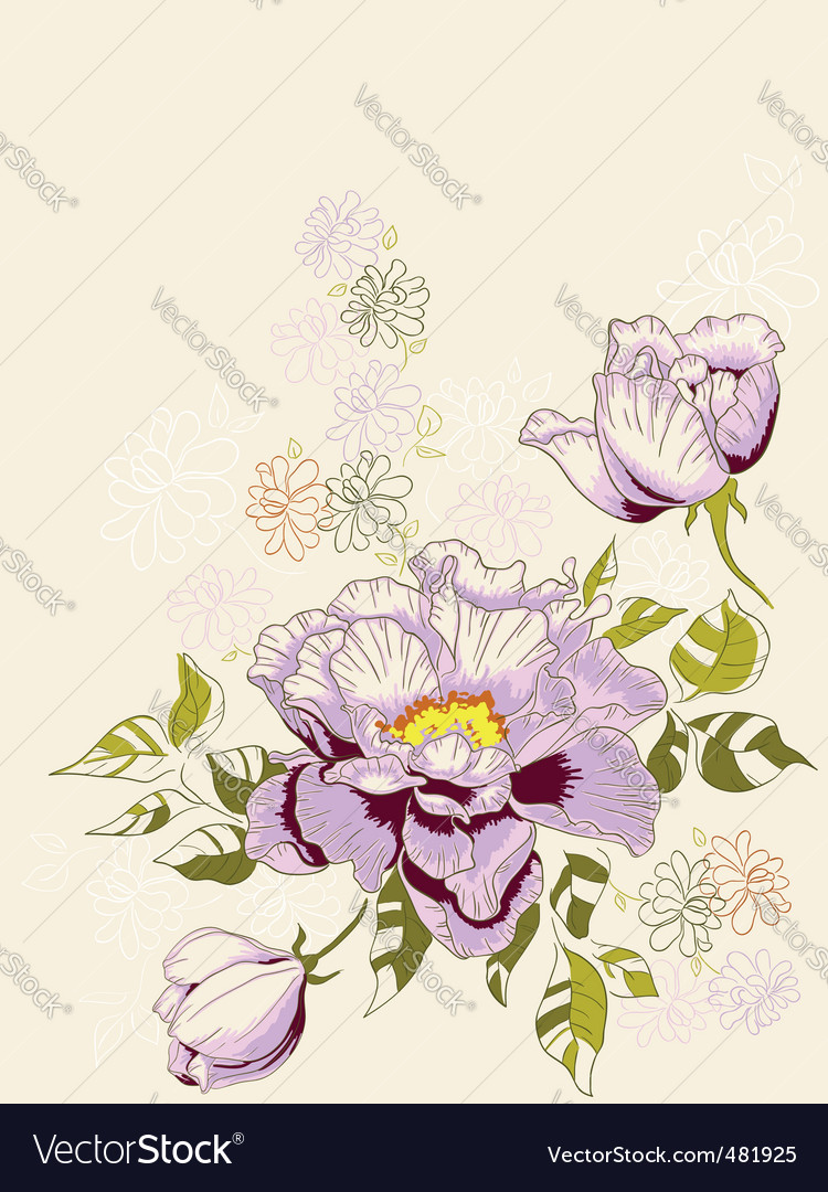 Floral background with peony vector | Price: 1 Credit (USD $1)