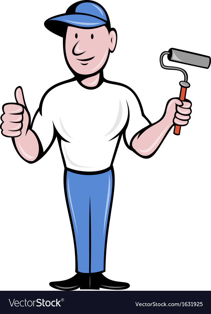 House painter with painting roller thumbs up vector | Price: 1 Credit (USD $1)