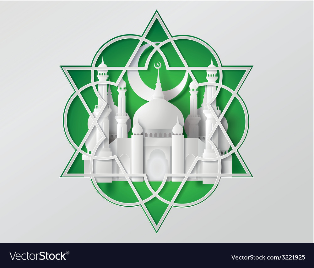 Paper mosque vector | Price: 1 Credit (USD $1)