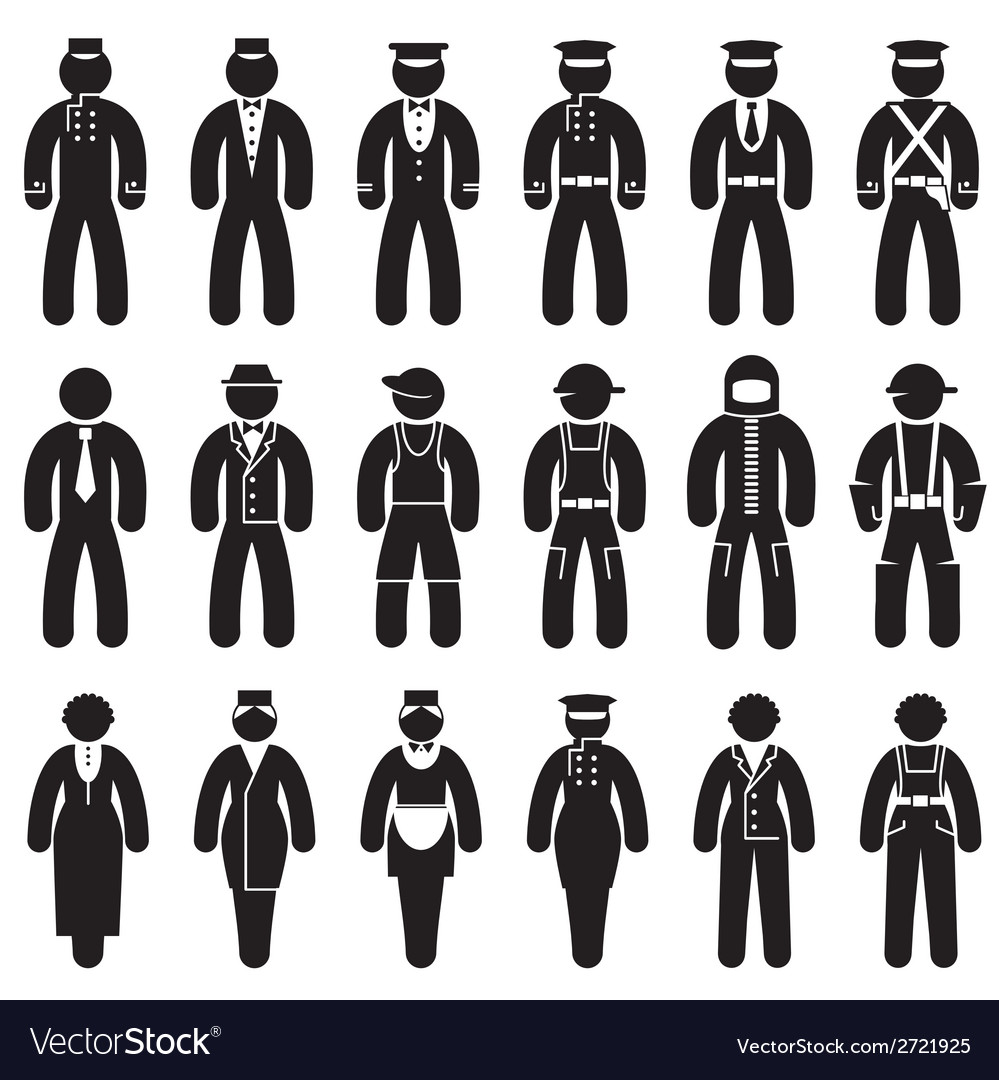 Peoples uniforms icons vector | Price: 1 Credit (USD $1)