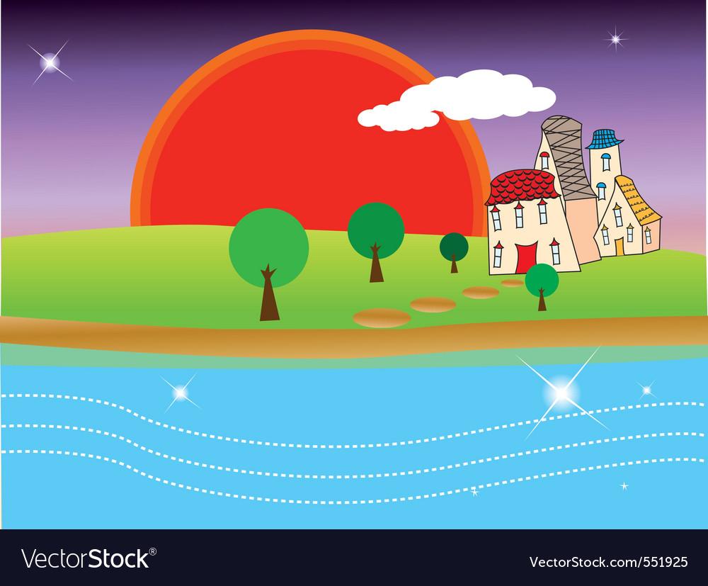 Quiet village under sunset vector | Price: 1 Credit (USD $1)