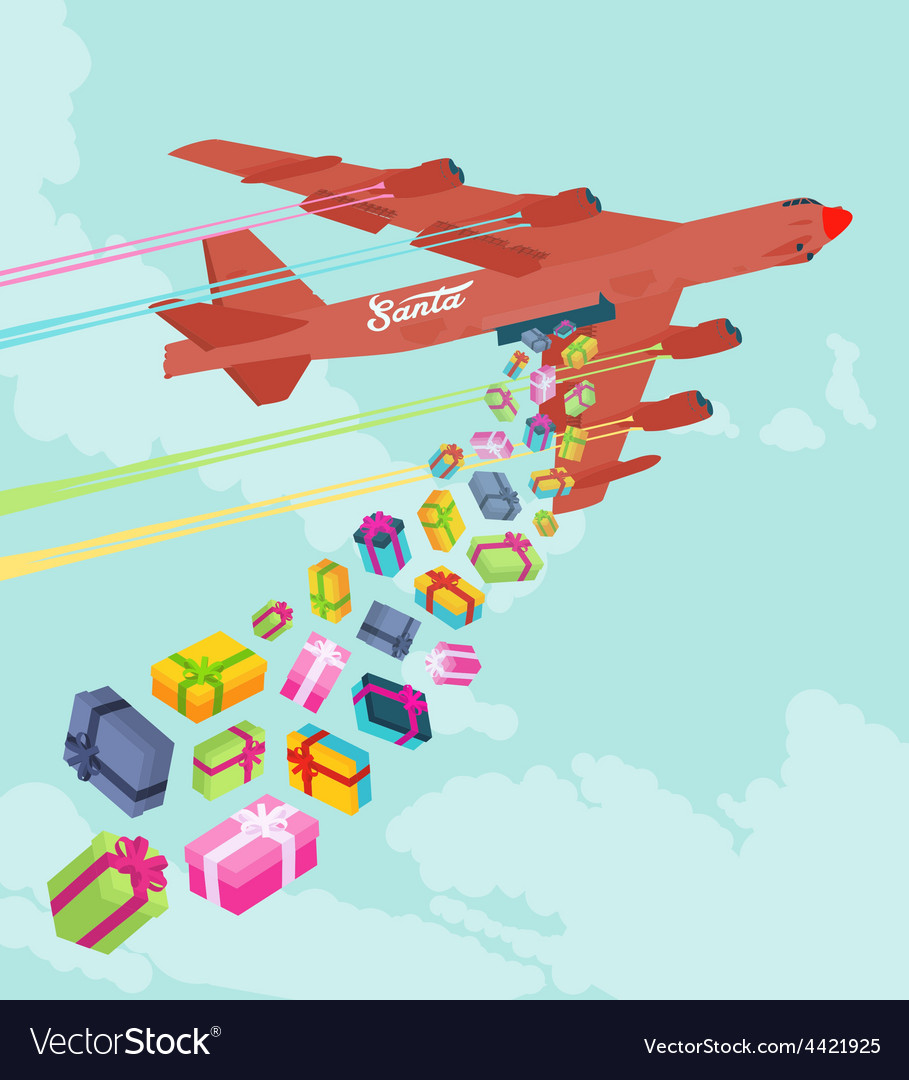 Santas bomber dropping the gifts vector | Price: 1 Credit (USD $1)