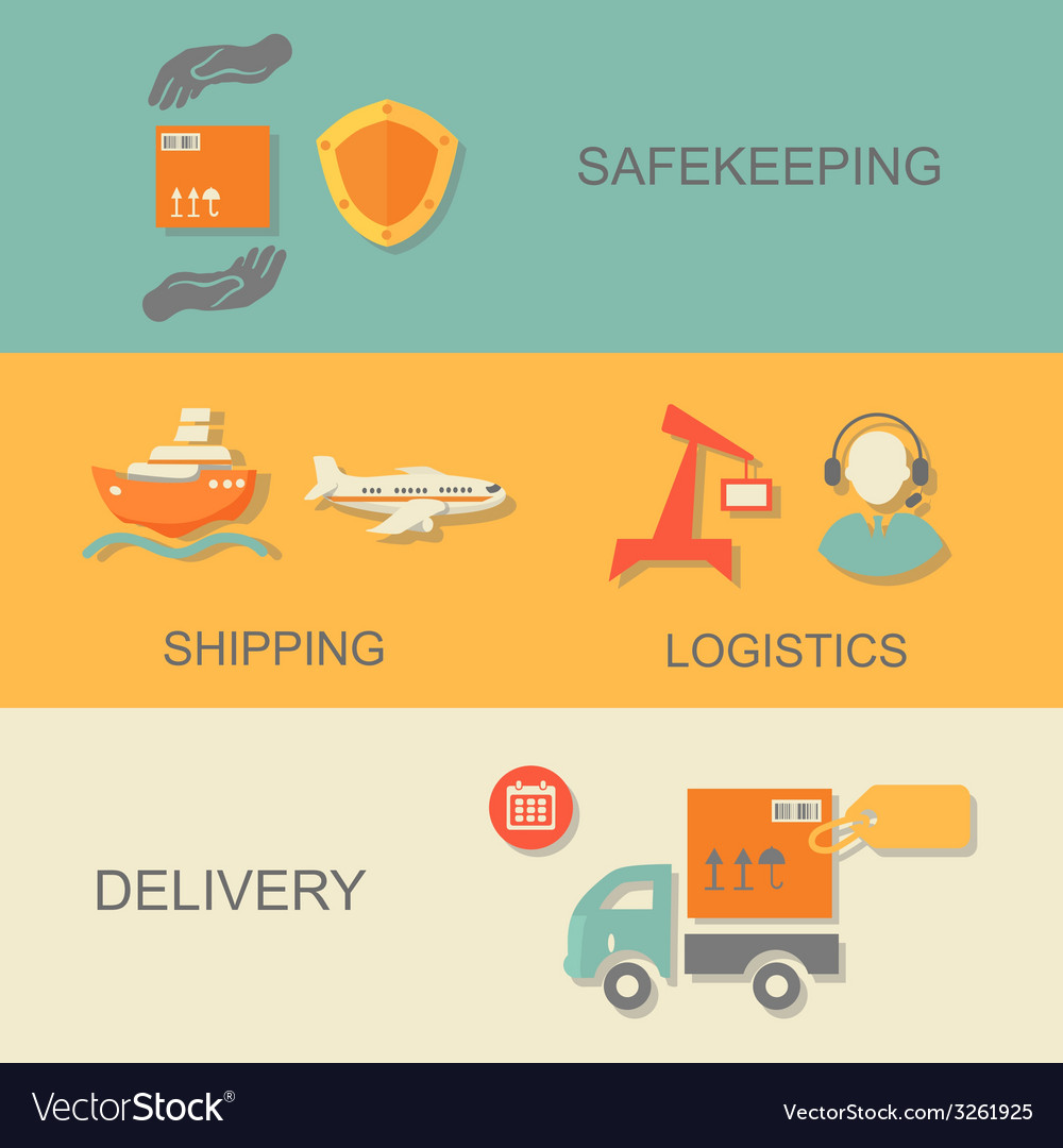 Set of logistics safekeeping delivery shipping vector | Price: 1 Credit (USD $1)