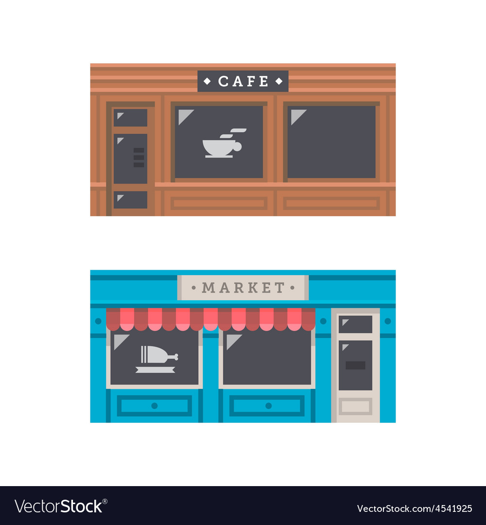 Shop front facade flat design vector   Price: 1 Credit (USD $1)