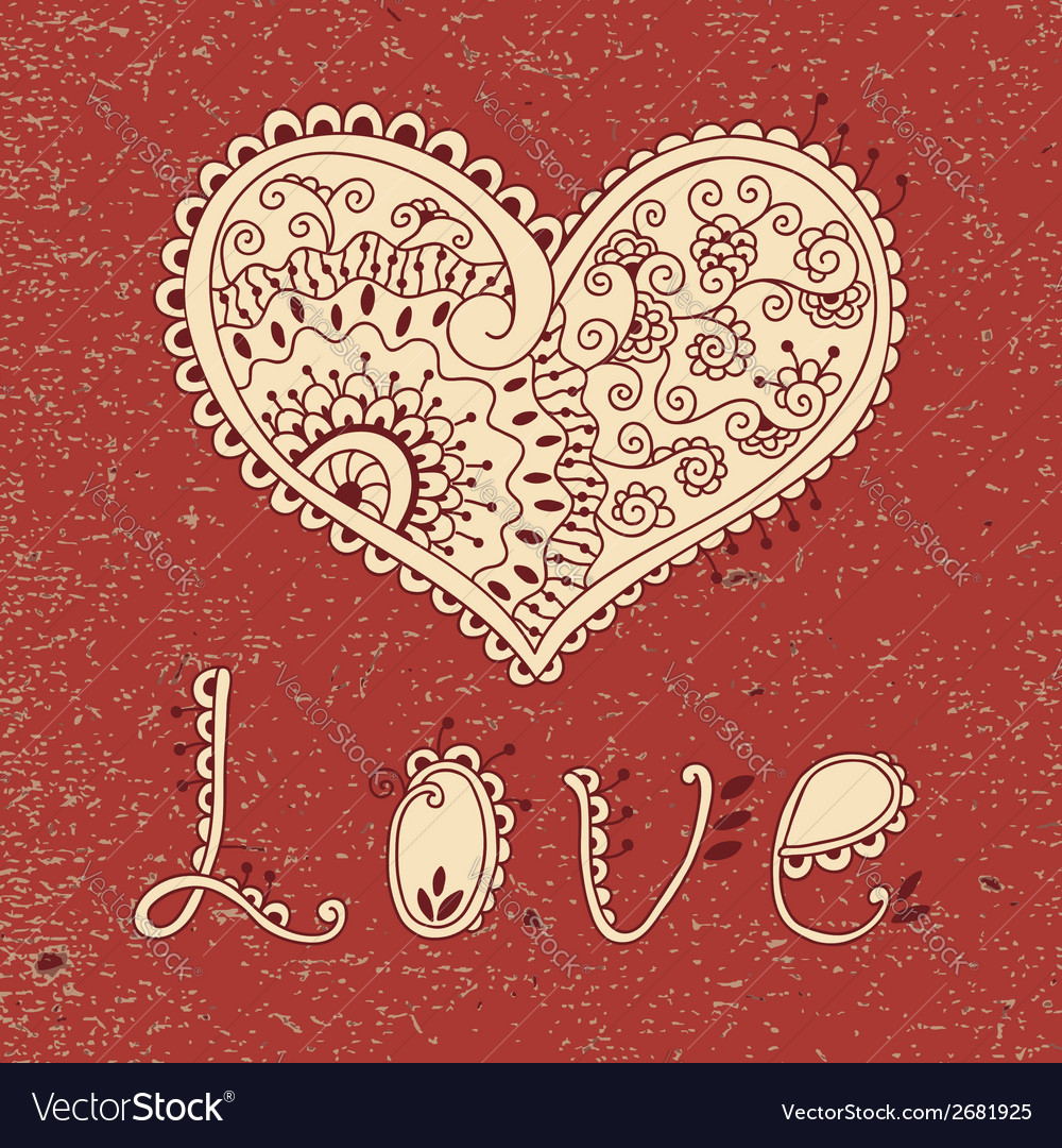 Vintage card with hearts vector   Price: 1 Credit (USD $1)