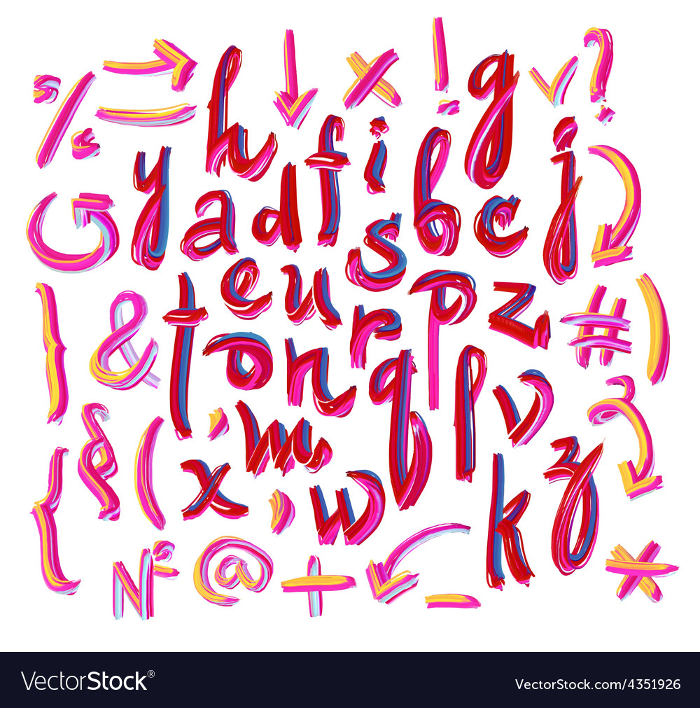 Alphabet hand drawn letters letters of vector | Price: 1 Credit (USD $1)