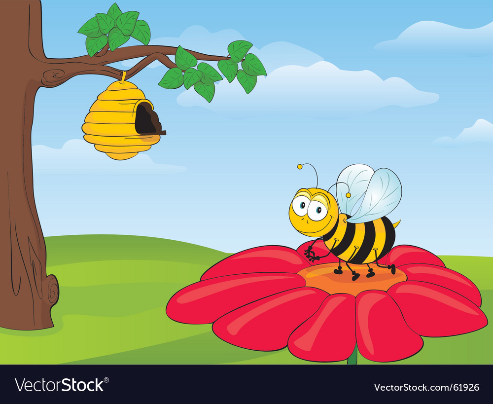 Bee on flower vector | Price: 1 Credit (USD $1)