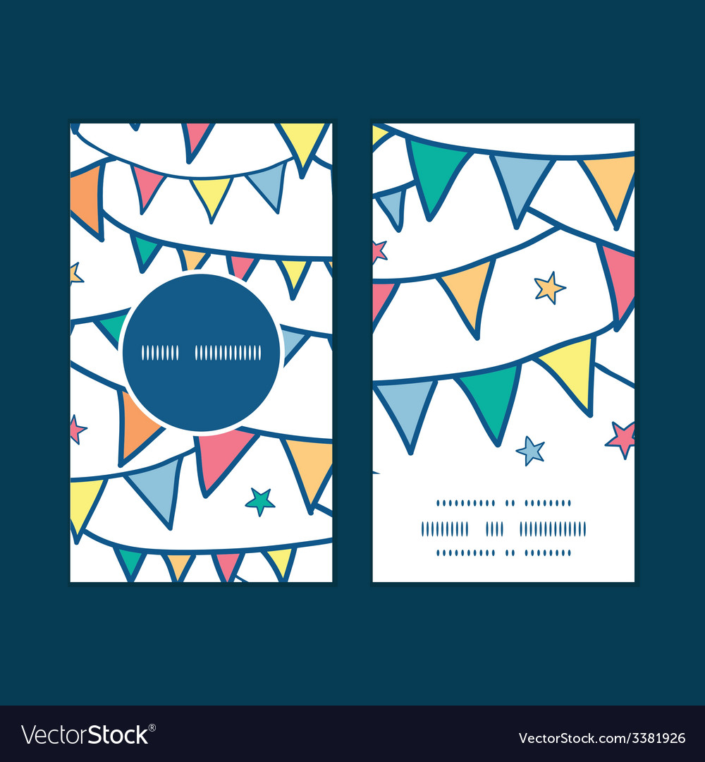 Colorful doodle bunting flags vertical round frame vector | Price: 1 Credit (USD $1)
