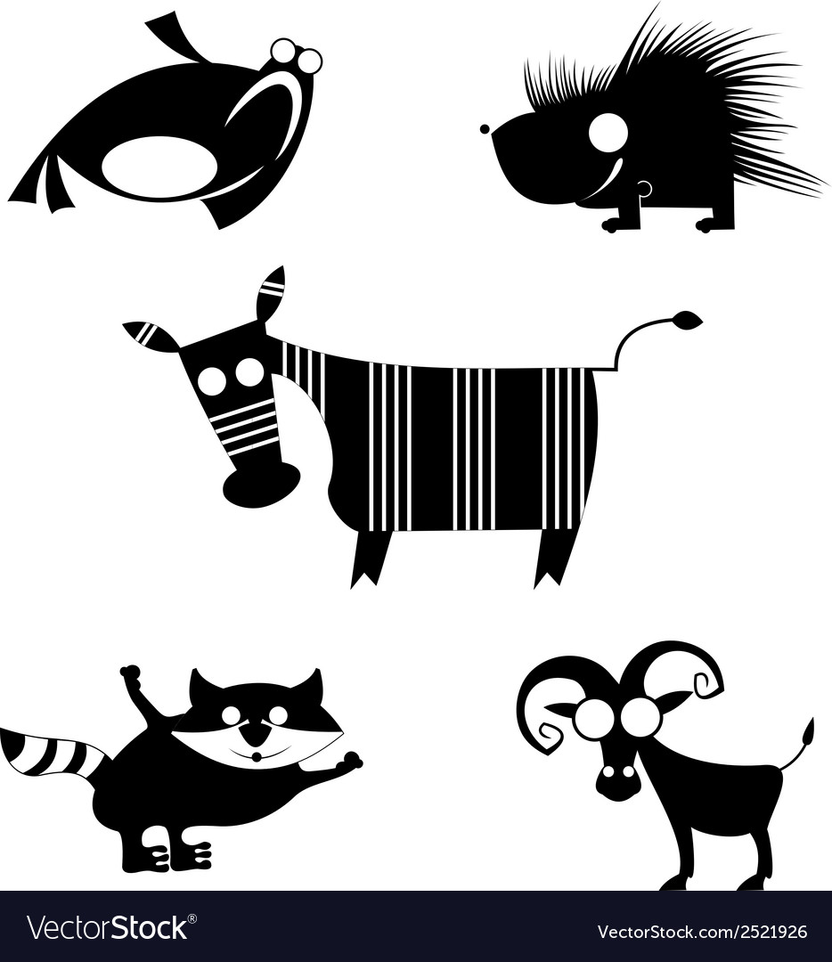Comic animal silhouettes vector | Price: 1 Credit (USD $1)