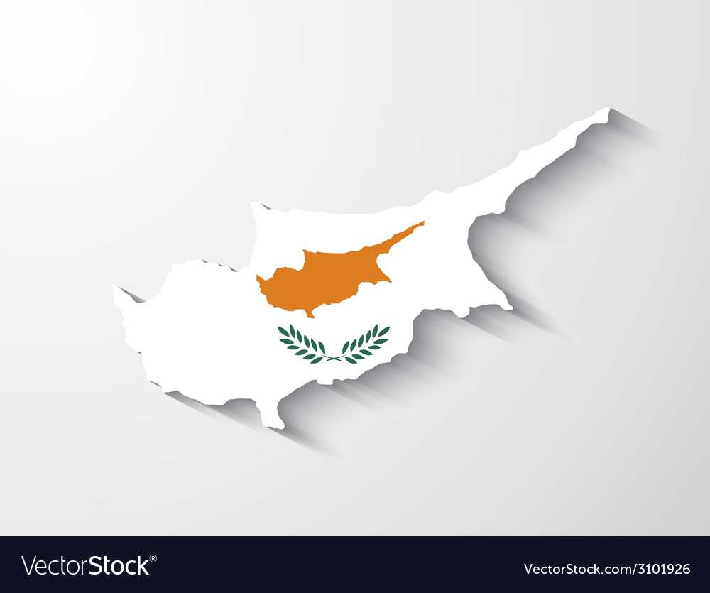 Cyprus map with shadow effect vector | Price: 1 Credit (USD $1)