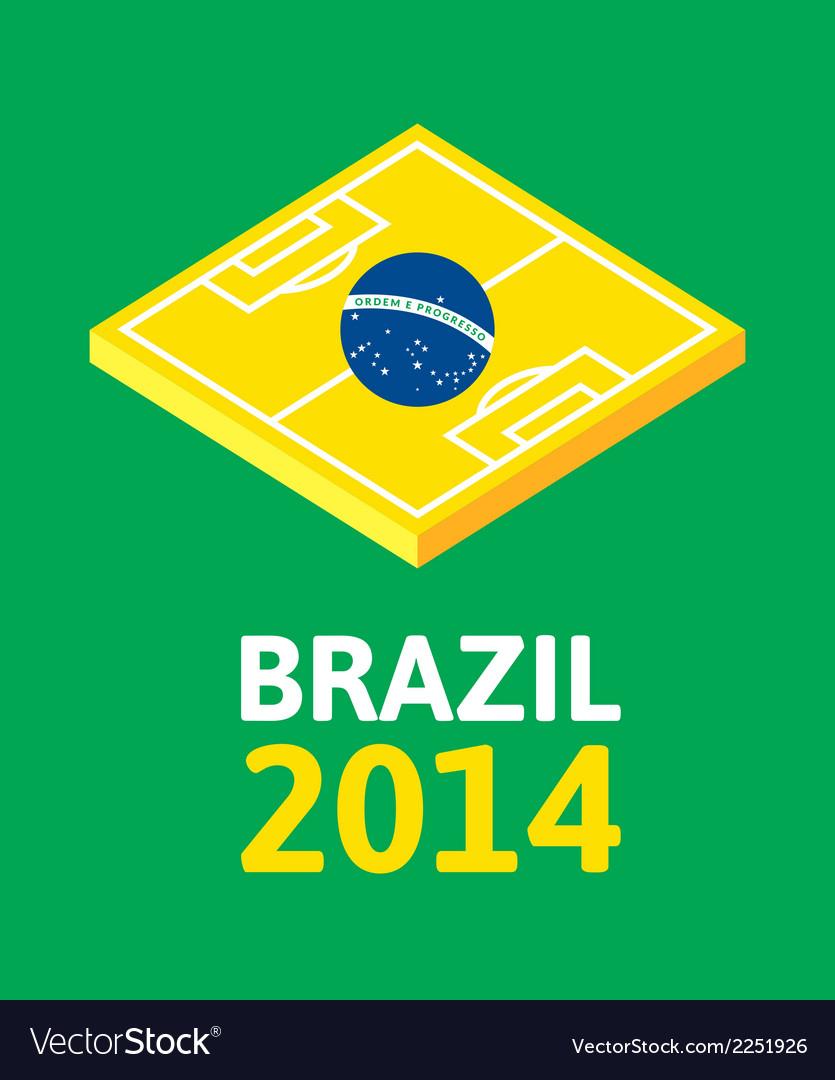Flat green soccer field brazil flag vector | Price: 1 Credit (USD $1)